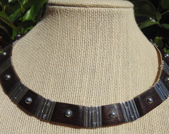 Mexican Sterling Silver and Dark Rosewood Substantial Choker Necklace - 101 Grams