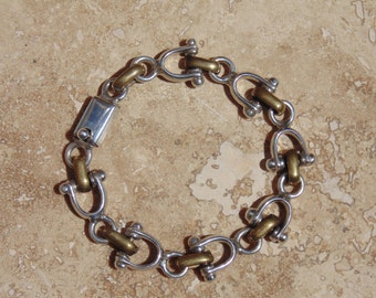 Mexican Sterling and Brass Stirrup Link Bracelet ~ 27 Grams