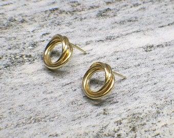 14K Gold Twisted Hoop Post Back Earrings