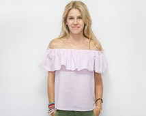Off the Shoulder Top,  Woman's Ruffle Top, Pink Strapless Top, Boho Top, Woman Ruffle Blouse, Off the Shoulder MATILDA Top.