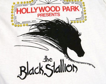 Vintage 1980 Kids T-Shirt Hollywood Park Presents The Black Stallion NOS New Old Stock White Cotton Made in USA