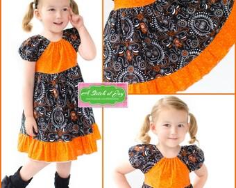 Toddler Dress, Girls Dress, Girls Sugar Skull Dress, Dia de los Muertos, Day of the Dead, Sugar Skulls, Halloween