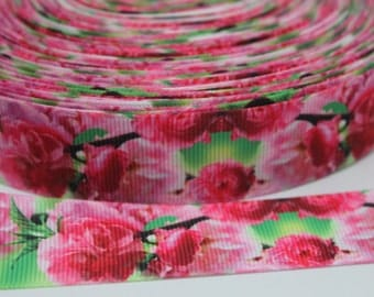 Flower 1  Inch Grosgrain Ribbon by the Yard for Hairbows, Scrapbooking, and More!!