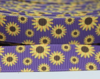 5/8 Inch Purple Sunflower Grosgrain Ribbon by the Yard for Hairbows, Scrapbooking, and More!!