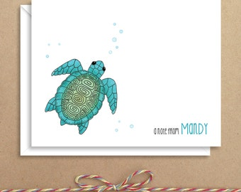 Sea Turtle Note Cards - Folded Note Cards - Personalized Children's Stationery - Thank You Notes - Illustrated Note Cards