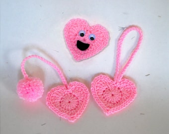 SALE Heart Bookmark, Planner Charm, or Funny Magnet - Crochet Food Planner Accessories, Unique Bookmark, Funny Gift - LAST CHANCE