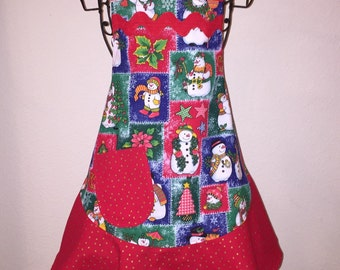 Child's Medium Christmas Apron - Red, Green and Blue Snowmen
