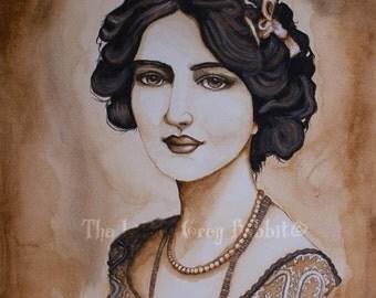 Sepia Painting, Original Watercolor, Lily Elsie, Portrait Watercolor, Vintage Style Art, Edwardian Portrait, Female Watercolor