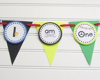 race car high chair banner, I am One race car banner, race car birthday party, race car baby shower, race car 1st birthday, I am two banner