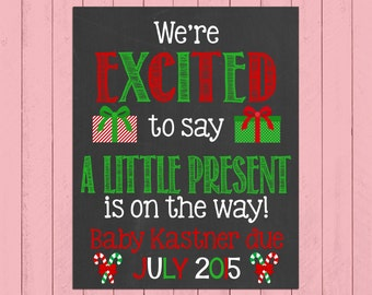 Christmas Pregnancy Announcement Chalkboard Poster | We're Excited to Say | Pregnancy Reveal | Winter | Expecting | *DIGITAL FILE*