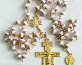 Rosary - Czech Glass Saint Mary Magdalene Rosary - 18K Gold Vermeil Crucifix & Center