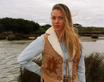 Sherpa Women - Vintage Shearling Coat - Hippie Suede Coat - Western Sherpa Jacket - Gypsy Suede Coat - Shearling Coat - Patchwork Coat