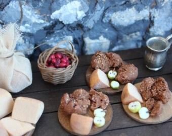 Dollhouse bread cheese, Medieval Tudor 12th scale peasant supper. Miniature inn food, rustic diorama