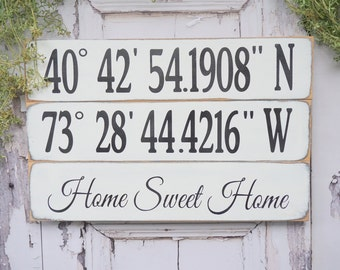 GPS Coordinates Sign Latitude Longitude Personalized Location Our Nest Home Sweet Home Bridal Shower Wedding Gift House warming Fixer Upper