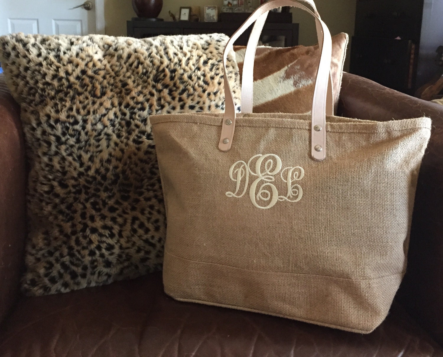 monogrammed jute burlap tote bag    personalized by jaxyrayboutique