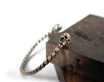 Silver Skull bangle bracelet cuff, Gothic Jewelry, Harley Davidson jewelry, Rocker jewelry, Occult jewelry