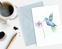 Hummingbird Card Watercolour Art Greetings Card Birthday Card Mothers Day Card Personalised Blue Bird Card Custom Text Card Anniversary Card
