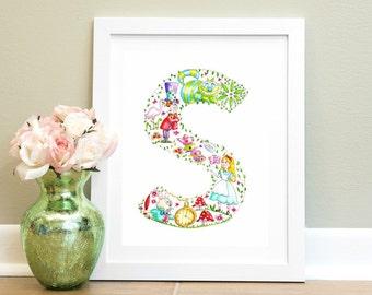 Nursery Alphabet Watercolour Print S is for.... Alphabet Letter Art Illustration Nursery wall art Children Alice in wonderland