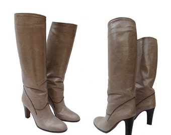 1970s Mid Knee leather BOOTS // high heel boots