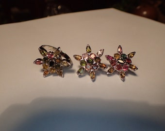 Star MultiStone set of earrings and ring sterling silver.