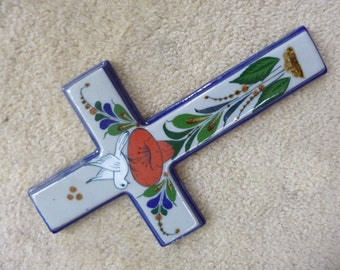 Mexican Ceramic Cross Vintage Folk Art Wallhanging Orange Flower and Dove Design From Mexico