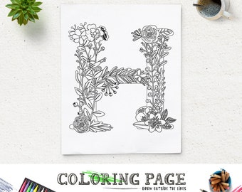 Coloring Pages For The Letter H. Printable Coloring Page Floral Alphabet Letter H Instant Download Digital  Art Zen Pages SALE P