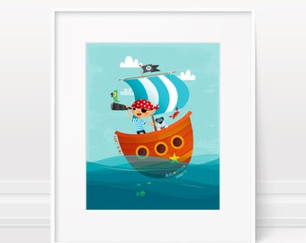 Boy nursery art - Pirate wall art for boys room decor, nautical nursery print, pirate home decor