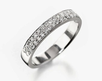 Pave wedding band, half eternity wedding band, diamond wedding band, pave wedding ring, diamond wedding ring, wedding band for her