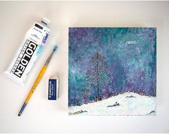 Christmas painting. Holiday painting. Painting on wood. Peace art. Winter art. Winter landscape.  Winter decor. Christmas art decor