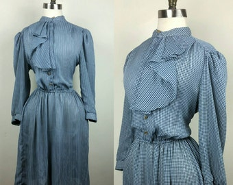 70s Secretary Dress with Ruffled Collar M