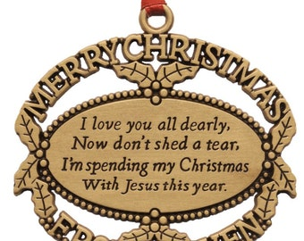 Gold Christmas From Heaven Ornament Engraved with Loved Ones Names and Birth and Death Date with Poem card and Presentation Box