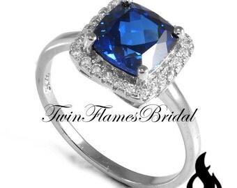 Blue Sapphire Engagement Ring | Blue Sapphire Wedding Ring 7mm Cushion Wedding Ring Halo Fine Lab Grown Blue Sapphire Size 6 7 8 9 #822