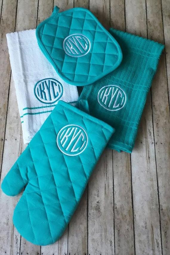 3 letter monogrammed kitchen towel set personalized by for Kitchen set letter l