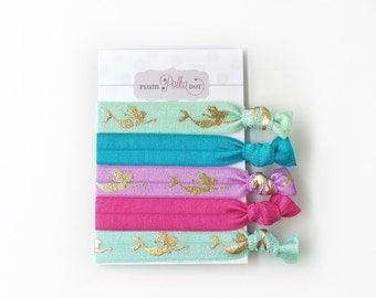 Mermaid Hair Ties, Elastic Ponytail Holders, Mermaid Hair Accessories, Pastel Hairties For Girls, Creaseless Hair Ties, Set of 5