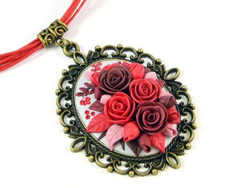 Ready to ship!- Floral Necklace Pendant applique with red, burgundy, brown flowers -Polymer clay jewelry -Rose Romantic-Handmade