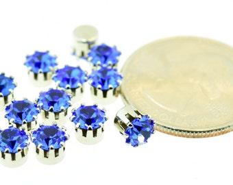 12 Piece Lot Swarovski Rhinestone 24ss Sapphire Blue Rhinestone in Single Silver Plated Brass Setting Vintage