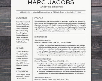 modern resume template cv template for word mac or pc professional design - Modern Resume Template Word