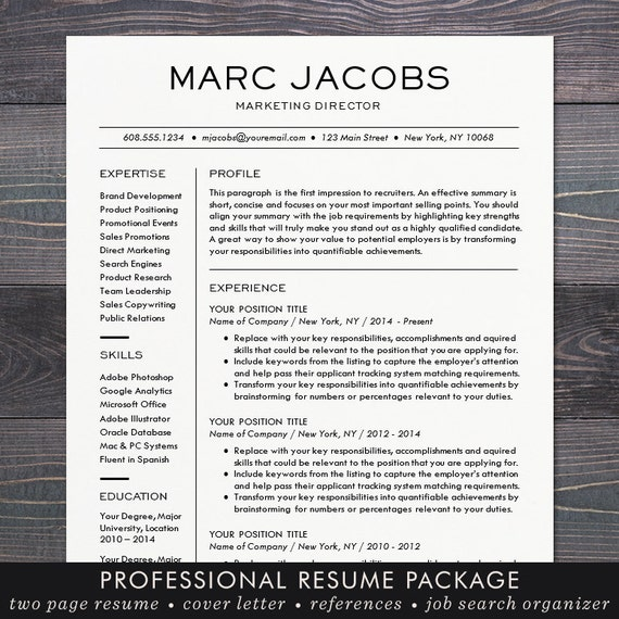 Modern Resume Template   CV Template For Word, Mac Or PC, Professional  Design, Free Cover Letter, Creative, Modern, Teacher   The Marc