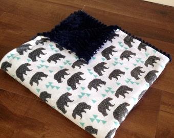 Minky Throw Blanket- Bear Blanket, Minky Baby Blanket, Toddler Blanket