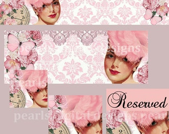 5 PC Banner Set, Large Cover banner, Shop Icon, Placeholders Reserved, Facebook Timeline and Profile, pink, pin up,roses