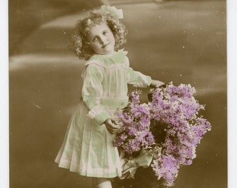1900s Lovely Little Girl & Flowers Hand Tinted Postcard Edwardian Victorian Antique Vintage Photo