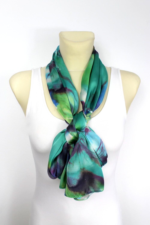boho floral scarf satin silk scarf floral print scarf pastel