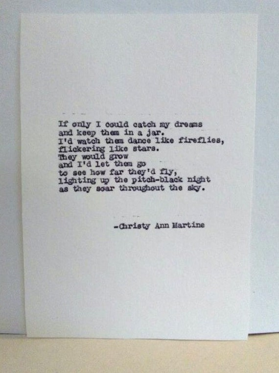 Literary Art - Dream Poem for Girls - Writers - Writing - Poets - Typed Poetry Poems