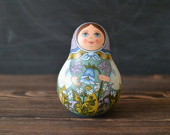 Hand Painted Matryoshka Roly Poly Doll. Russian folk art. Wooden sculpture. Home decoration.