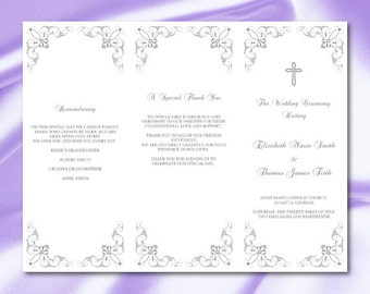 Tri fold program etsy catholic wedding program template silver gray trifold programs diy tri fold church order of pronofoot35fo Gallery