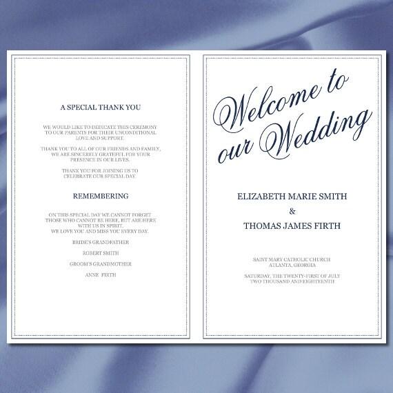 Wedding Program Template Navy Blue Calligraphy Half Fold