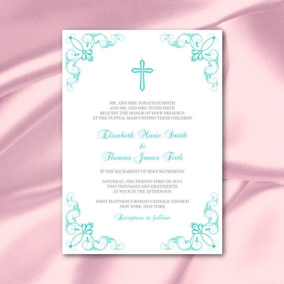 Catholic Wedding Invitation Template Turquoise Cross Invites