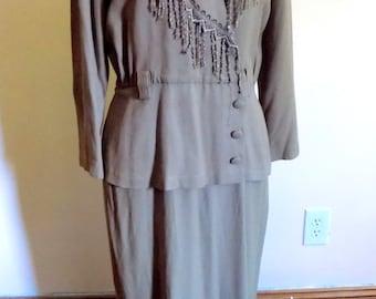 80s Dress, Wrap Dress, Tan, Fringe, Cowgirl, Peplum, Womens Vintage Clothing, 80s Secretary, Size 12, Petite, Size 12P, Cocktail Dress