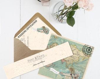 Wanderlust Wedding Invitation, Info card and RSVP set - Printed 350 GSM card inc. envelopes - vintage travel wedding theme folded invite