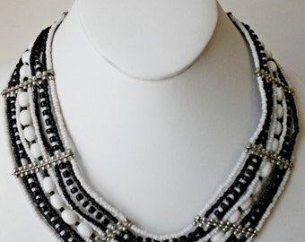 Black and White Beaded Multi Strand Necklace / Bib Necklace.